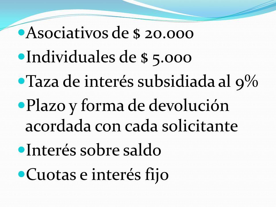 Asociativos de $ 20.000 Individuales de $ 5.000 Taza de interés subsidiada al 9% Plazo y forma de devolución acordada con cada solicitante Interés sobre saldo Cuotas e interés fijo