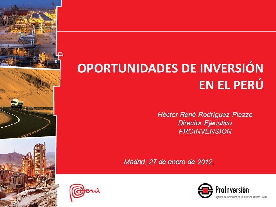 Héctor René Rodríguez Piazze Director Ejecutivo PROINVERSION OPORTUNIDADES DE INVERSIÓN EN EL PERÚ Madrid, 27 de enero de 2012