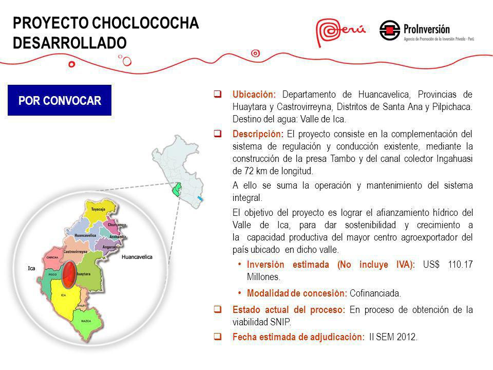 PROYECTO CHOCLOCOCHA DESARROLLADO Ubicación: Departamento de Huancavelica, Provincias de Huaytara y Castrovirreyna, Distritos de Santa Ana y Pilpichac