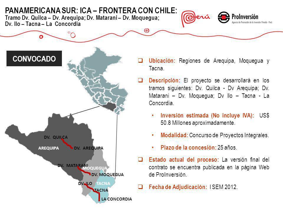 LA CONCORDIA TACNA DV. ILO DV. MOQUEGUA DV. AREQUIPA DV. MATARANI DV. QUILCA Ubicación: Regiones de Arequipa, Moquegua y Tacna. Descripción: El proyec