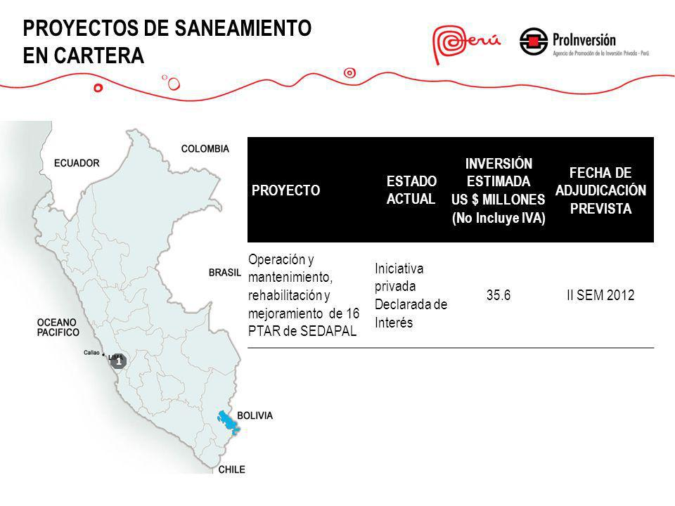1 PROYECTOS DE SANEAMIENTO EN CARTERA PROYECTO ESTADO ACTUAL INVERSIÓN ESTIMADA US $ MILLONES (No Incluye IVA) FECHA DE ADJUDICACIÓN PREVISTA Operació
