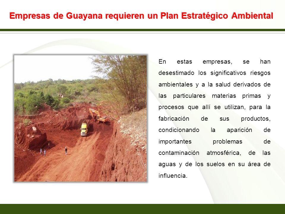 Page 14 Empresas de Guayana requieren un Plan Estratégico Ambiental En estas empresas, se han desestimado los significativos riesgos ambientales y a l