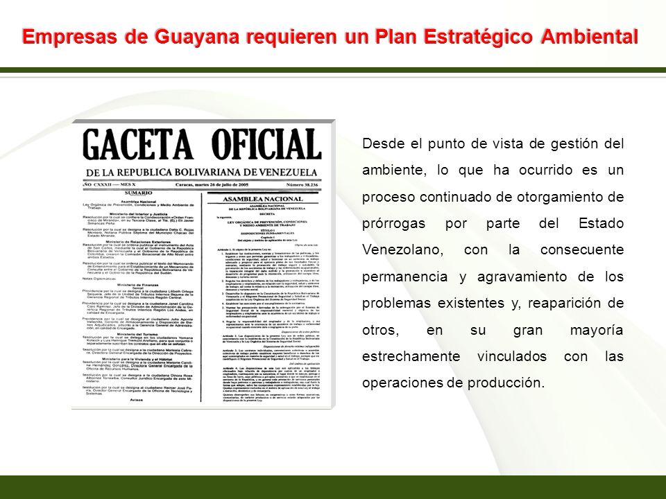 Page 15 Empresas de Guayana requieren un Plan Estratégico Ambiental Desde el punto de vista de gestión del ambiente, lo que ha ocurrido es un proceso