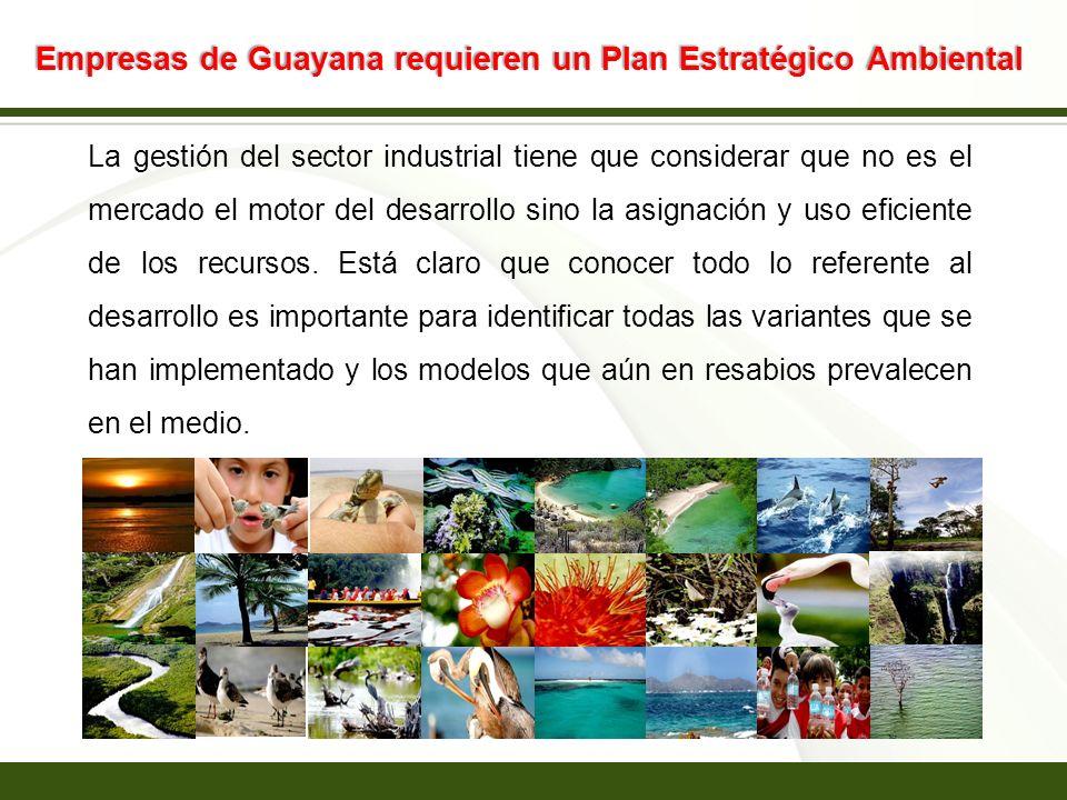 Page 17 Empresas de Guayana requieren un Plan Estratégico Ambiental La gestión del sector industrial tiene que considerar que no es el mercado el moto