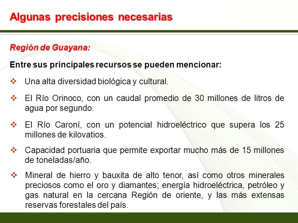 Page 2 Algunas precisiones necesarias Región de Guayana: Entre sus principales recursos se pueden mencionar: Una alta diversidad biológica y cultural.