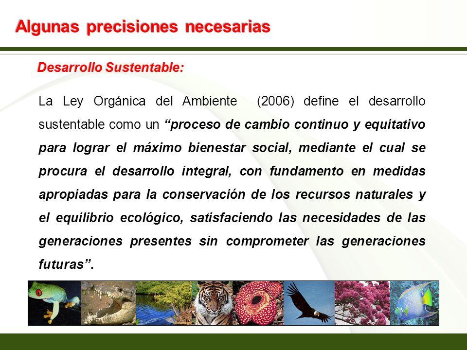 Page 4 Algunas precisiones necesarias Desarrollo Sustentable: La Ley Orgánica del Ambiente (2006) define el desarrollo sustentable como un proceso de