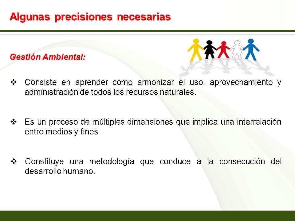 Page 6 Algunas precisiones necesarias Gestión Ambiental: Consiste en aprender como armonizar el uso, aprovechamiento y administración de todos los rec