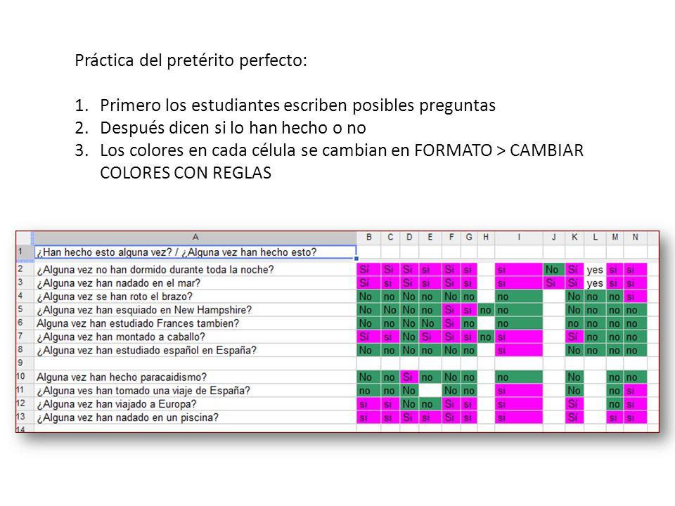 Práctica del pretérito perfecto: 1.Primero los estudiantes escriben posibles preguntas 2.Después dicen si lo han hecho o no 3.Los colores en cada célula se cambian en FORMATO > CAMBIAR COLORES CON REGLAS