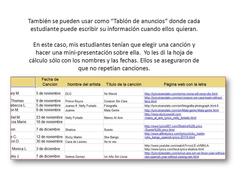 También se pueden usar como Tablón de anuncios donde cada estudiante puede escribir su información cuando ellos quieran.