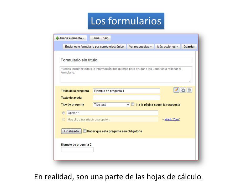Los formularios En realidad, son una parte de las hojas de cálculo.