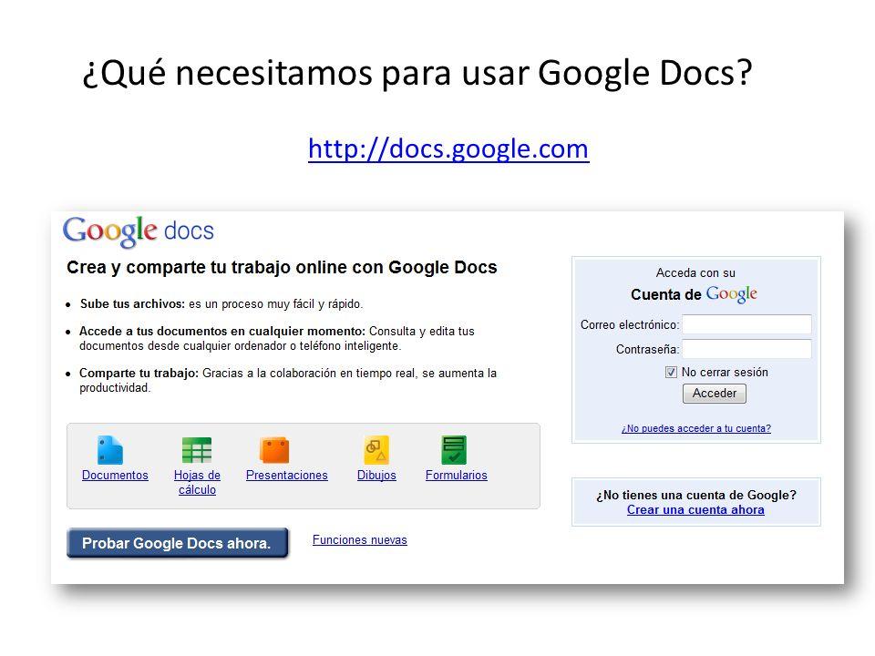 ¿Qué necesitamos para usar Google Docs http://docs.google.com