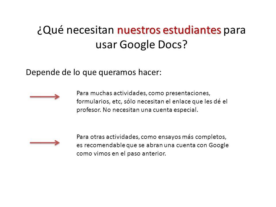 nuestros estudiantes ¿Qué necesitan nuestros estudiantes para usar Google Docs.
