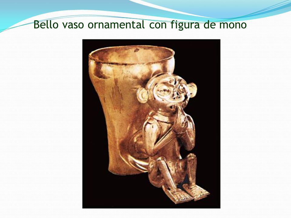 Bello vaso ornamental con figura de mono