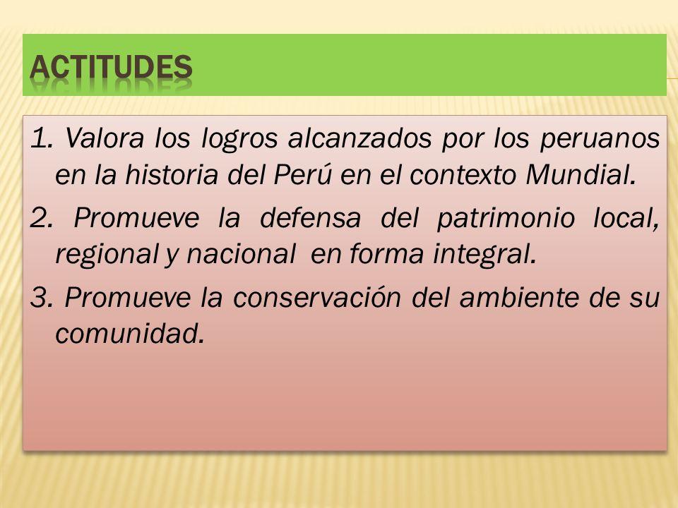 1. Valora los logros alcanzados por los peruanos en la historia del Perú en el contexto Mundial. 2. Promueve la defensa del patrimonio local, regional