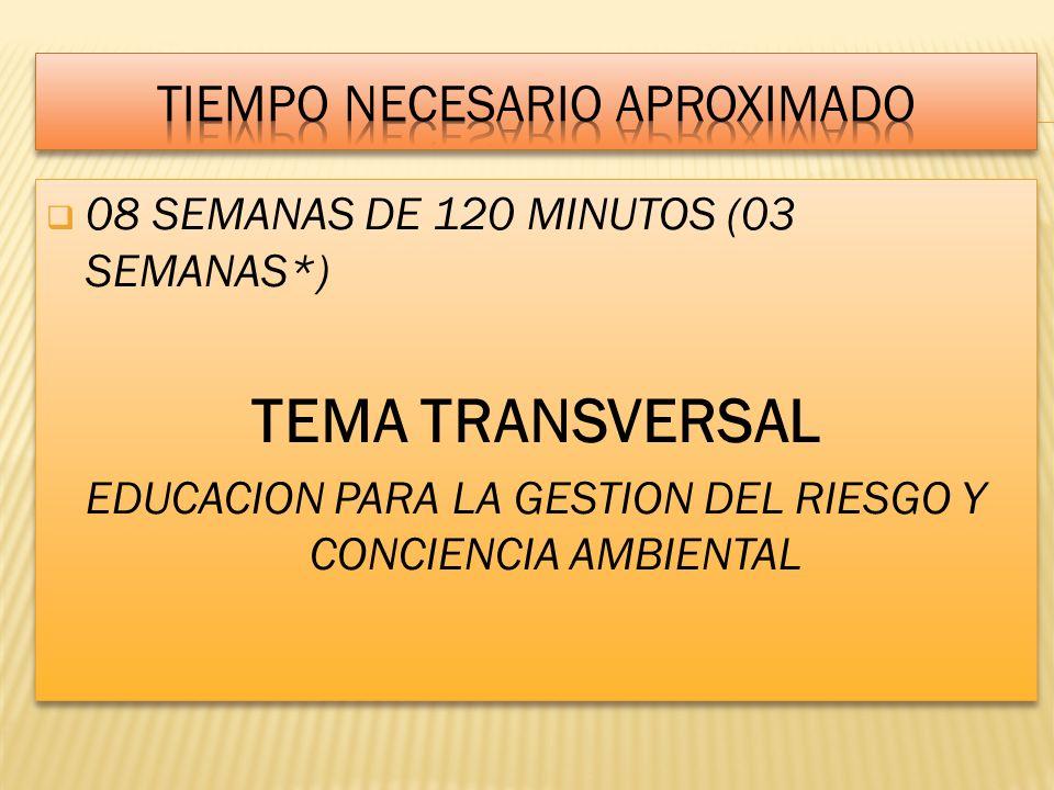 08 SEMANAS DE 120 MINUTOS (03 SEMANAS*) TEMA TRANSVERSAL EDUCACION PARA LA GESTION DEL RIESGO Y CONCIENCIA AMBIENTAL 08 SEMANAS DE 120 MINUTOS (03 SEM