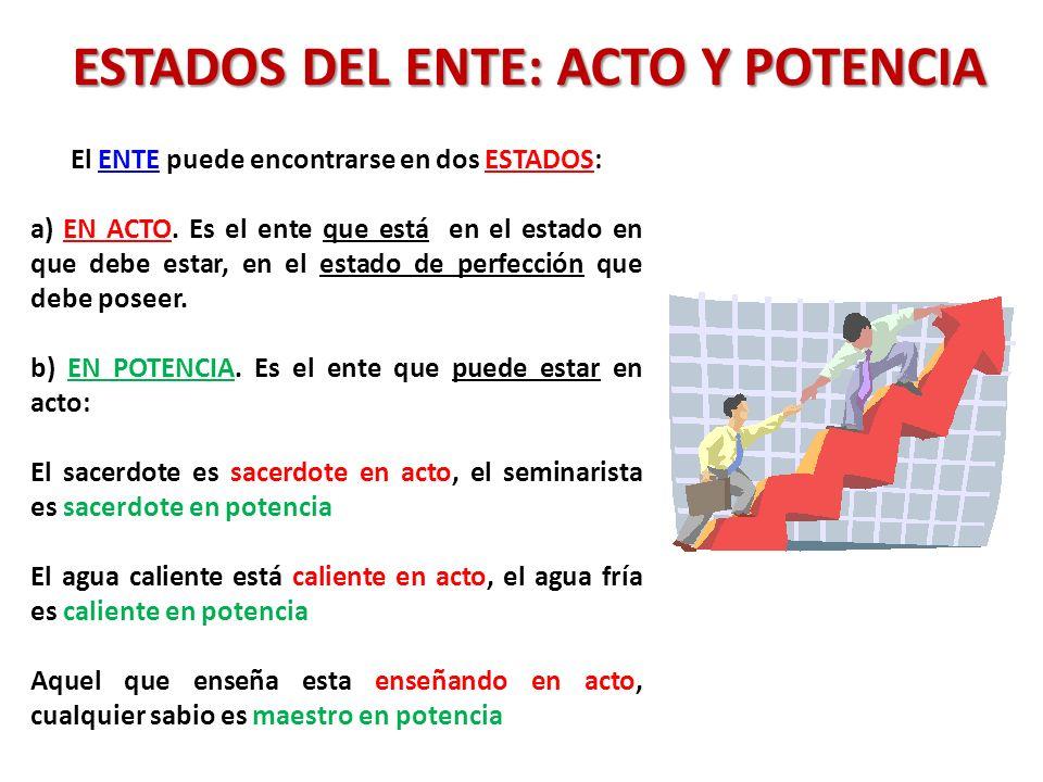 ESTADOS DEL ENTE: ACTO Y POTENCIA El ENTE puede encontrarse en dos ESTADOS: a) EN ACTO. Es el ente que está en el estado en que debe estar, en el esta