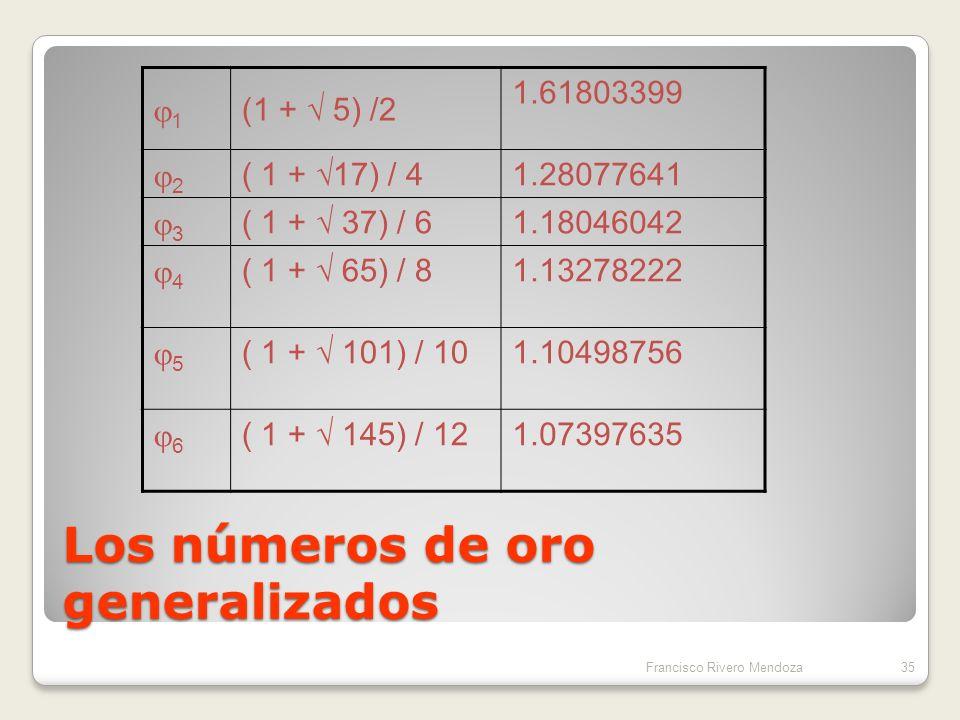 Números de oro generalizados Si para cada número natural n, consideramos la ecuación n x 2 – x- n = 0 La solución de la misma es el n-número de oro n = { 1 + ( 1 + 4n ) ½ }/ 2n En particular se tiene que 1 = 34Francisco Rivero Mendoza