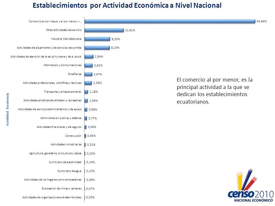 El comercio al por menor, es la principal actividad a la que se dedican los establecimientos ecuatorianos.