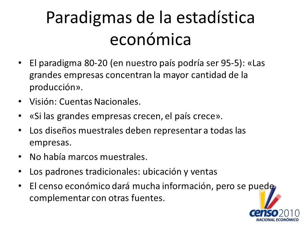 Paradigmas de la estadística económica El paradigma 80-20 (en nuestro país podría ser 95-5): «Las grandes empresas concentran la mayor cantidad de la
