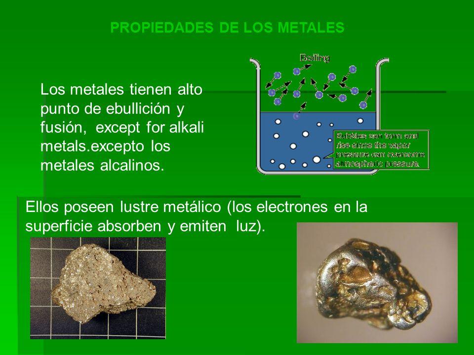 PROPIEDADES DE LOS METALES Los metales tienen alto punto de ebullición y fusión, except for alkali metals.excepto los metales alcalinos. Ellos poseen