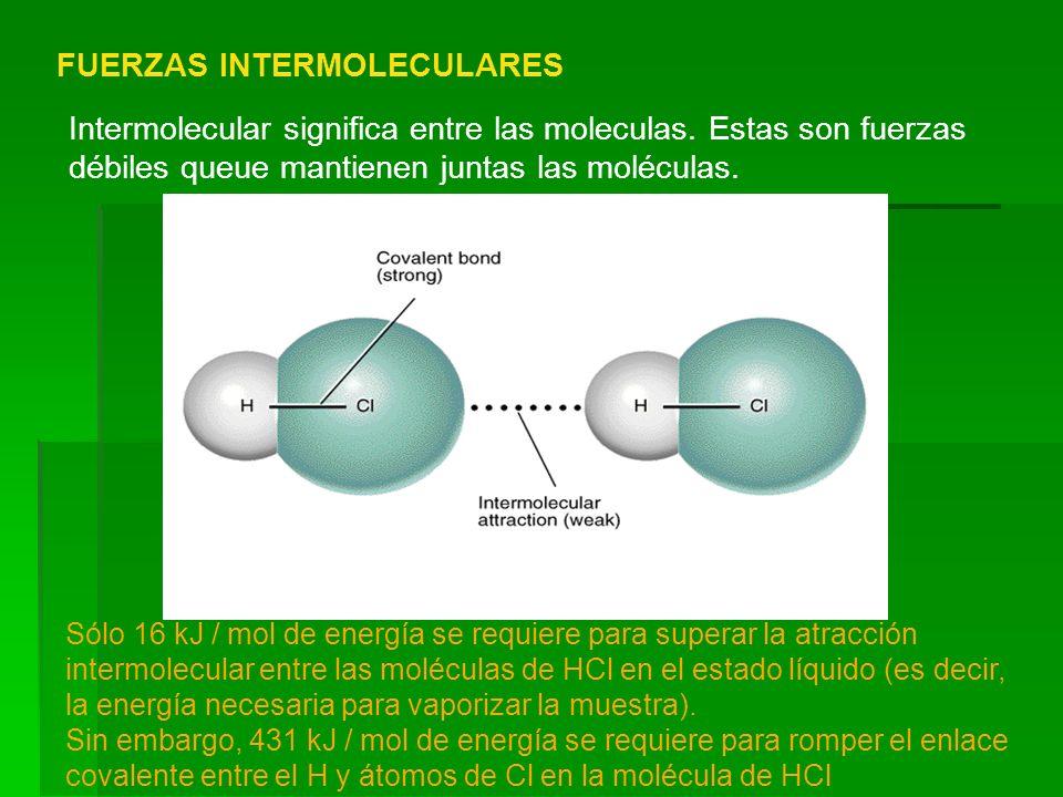 FUERZAS INTERMOLECULARES Intermolecular significa entre las moleculas. Estas son fuerzas débiles queue mantienen juntas las moléculas. Sólo 16 kJ / mo