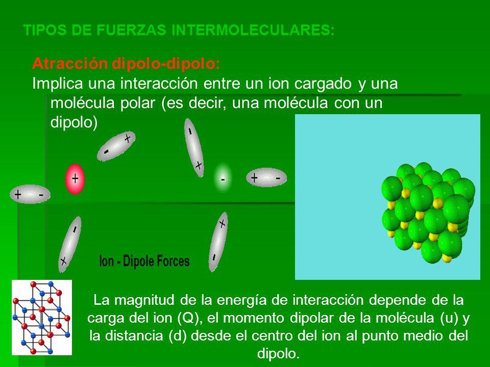 TIPOS DE FUERZAS INTERMOLECULARES: Atracción dipolo-dipolo: Implica una interacción entre un ion cargado y una molécula polar (es decir, una molécula