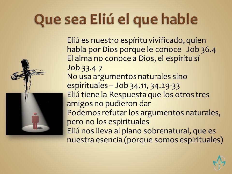 Eliú justifica a Dios – Job 34.12 Reta a Job a hablar conforme al plano superior – Job 34.33-37, 35.16 Nada afecta a Dios, ni lo que hagas bueno, ni lo que hagas malo Toda justicia humana es como maldad ante Dios, porque está llena de orgullo Job 35.8-12 Job no puede ver lo superior porque es ofuscado en tratar de justificarse – Job 36.17-23