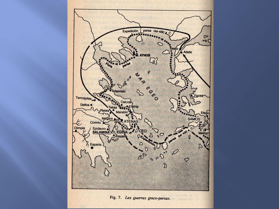 Con los Persas vencidos tras tres largas batallas ganadas sobre todo por los griegos (Maratón, Termopilas y Eurymedonte), Atenas se alzaba como la poli más poderosa de Grecia y, con Pericles como gobernante, se convirtió en el siglo de oro de Atenas (V o de Pericles).