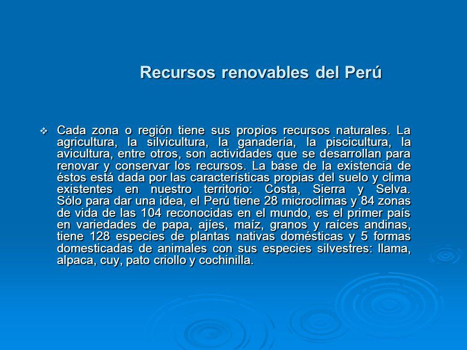 Recursos renovables del Perú En lo que respecta al recurso hídrico, el Perú tiene 106 cuencas que producen una masa promedio anual de agua superficial de 780,000 MMC de los cuales el 90% drena hacia el Atlántico por el Amazonas y del 10% restante sólo se aprovecha una pequeña parte.