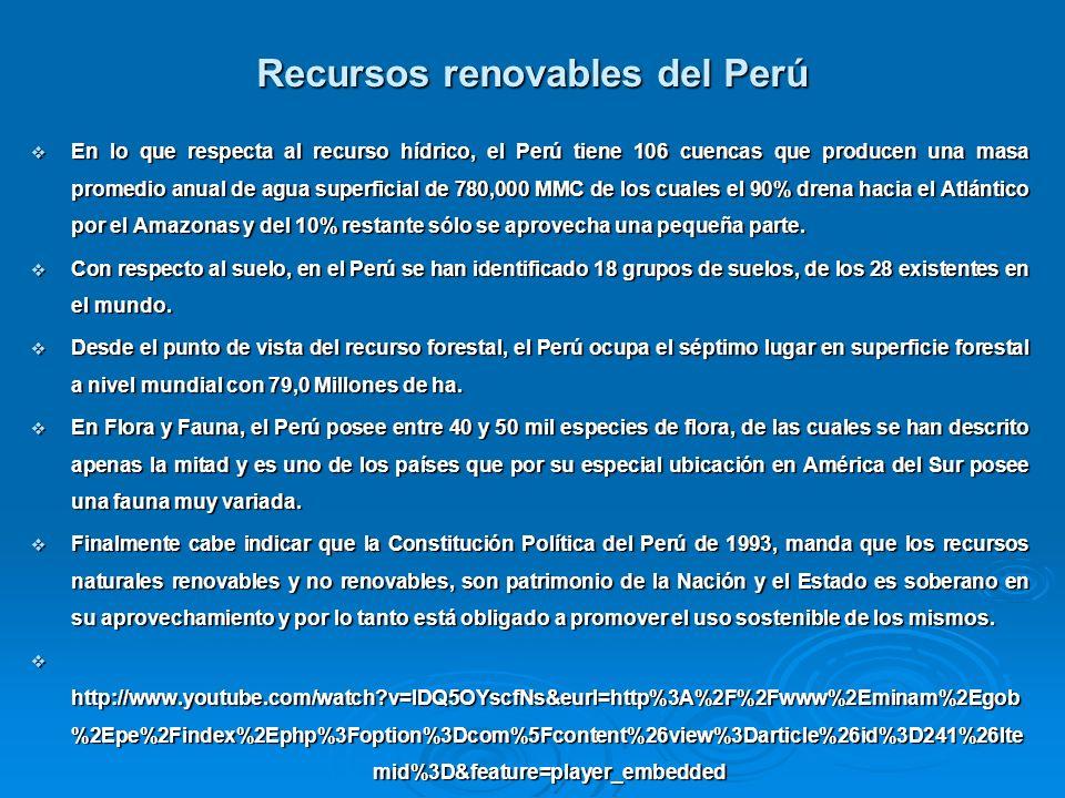 Recursos renovables del Perú En lo que respecta al recurso hídrico, el Perú tiene 106 cuencas que producen una masa promedio anual de agua superficial