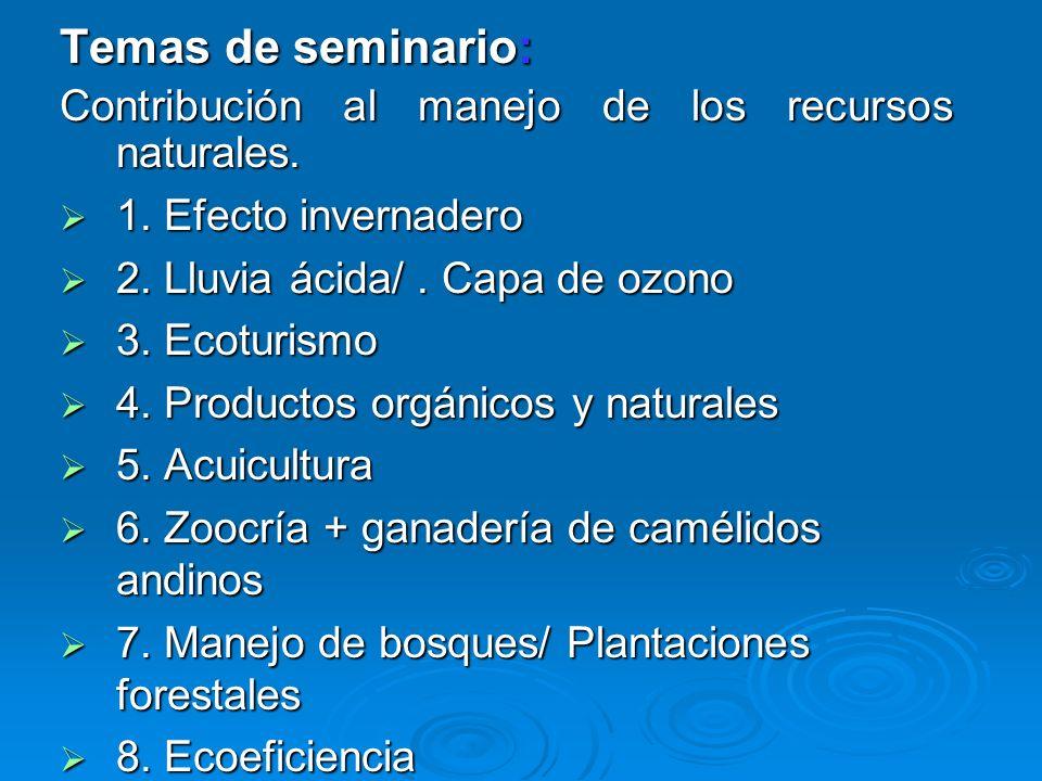 Temas de seminario: Contribución al manejo de los recursos naturales. 1. Efecto invernadero 1. Efecto invernadero 2. Lluvia ácida/. Capa de ozono 2. L