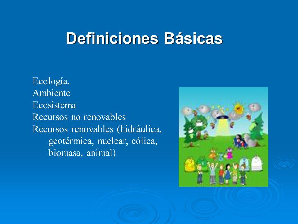 Definiciones Básicas Ecología. Ambiente Ecosistema Recursos no renovables Recursos renovables (hidráulica, geotérmica, nuclear, eólica, biomasa, anima