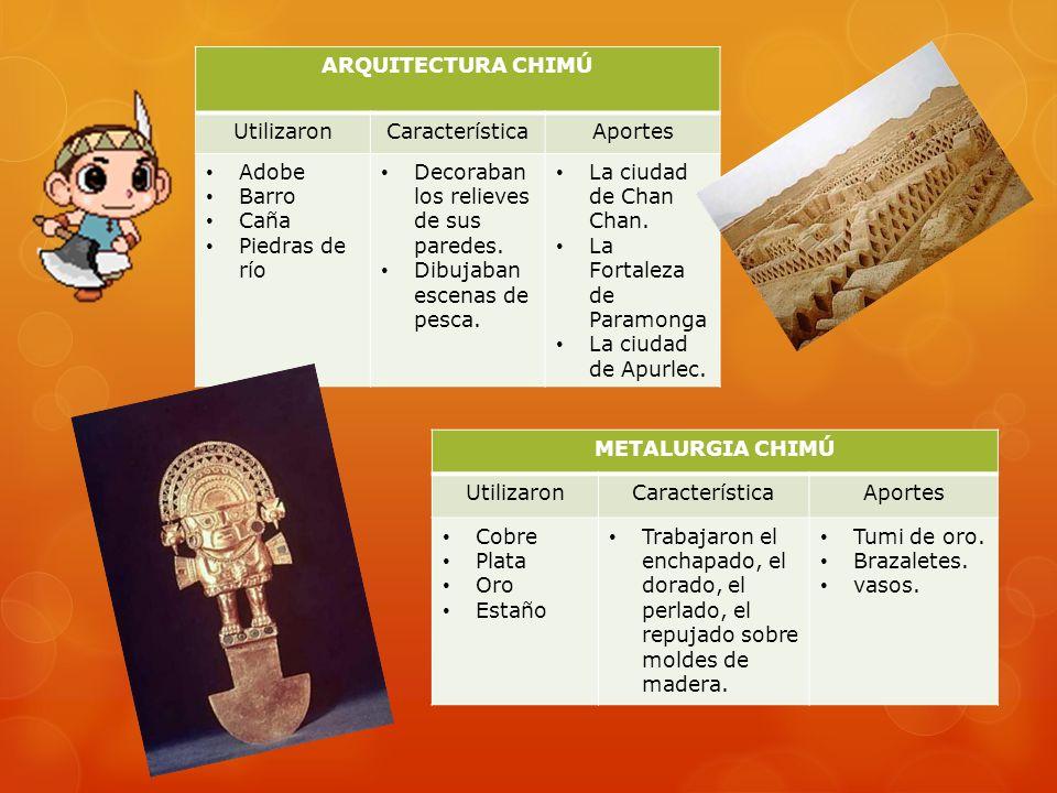 LA CULTURA CHIMÚ Aparecieron tras el ocaso de los moche y extendieron sus dominios hasta Barranca. Fue una sociedad guerrera creada por conquistas mil
