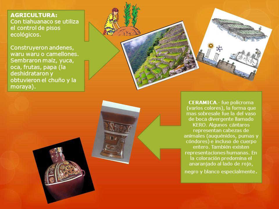 TIAHUANACO Se desarrolló en la meseta del Collao a 21Km. del Lago Titicaca, en los actuales países del Perú y Bolivia. Fue una cultura Pan peruana (to