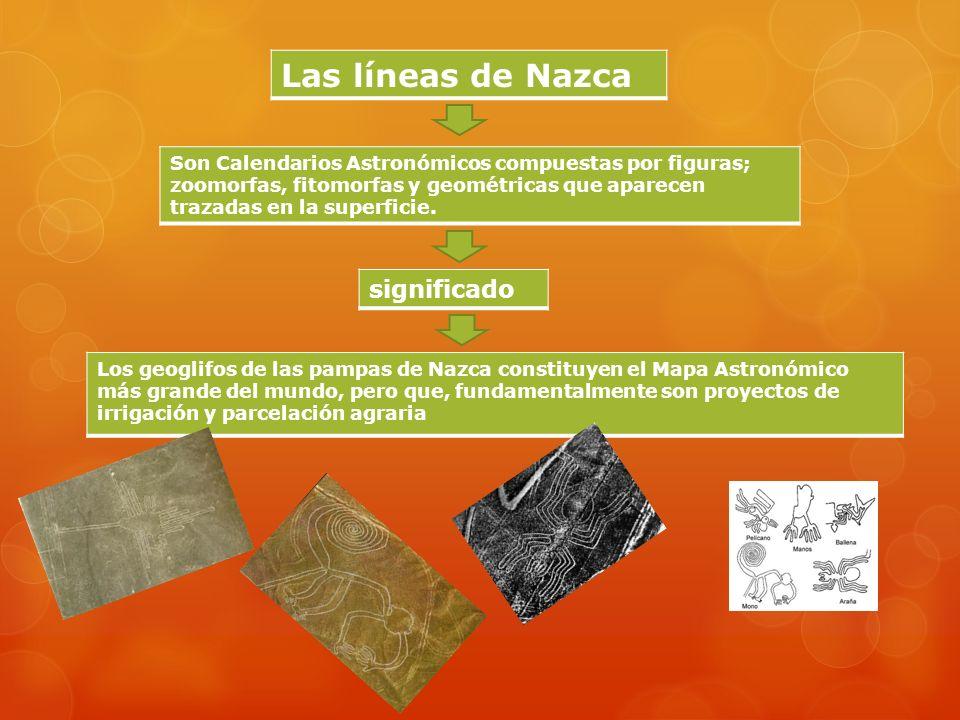 Las líneas de Nazca Son Calendarios Astronómicos compuestas por figuras; zoomorfas, fitomorfas y geométricas que aparecen trazadas en la superficie.