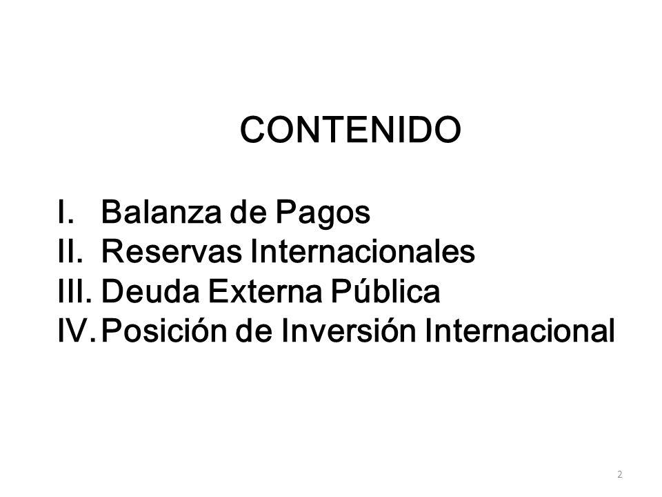 2 CONTENIDO I.Balanza de Pagos II.Reservas Internacionales III.Deuda Externa Pública IV.Posición de Inversión Internacional