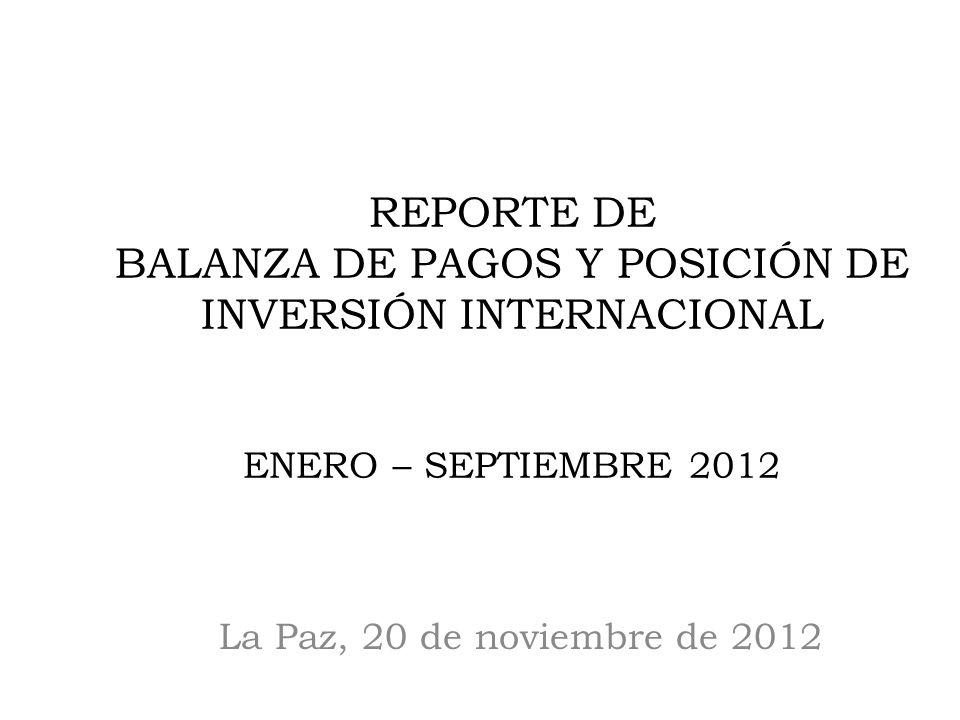 La Paz, 20 de noviembre de 2012 REPORTE DE BALANZA DE PAGOS Y POSICIÓN DE INVERSIÓN INTERNACIONAL ENERO – SEPTIEMBRE 2012