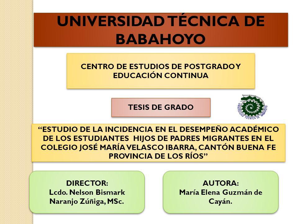 UNIVERSIDAD TÉCNICA DE BABAHOYO CENTRO DE ESTUDIOS DE POSTGRADO Y EDUCACIÓN CONTINUA TESIS DE GRADO ESTUDIO DE LA INCIDENCIA EN EL DESEMPEÑO ACADÉMICO