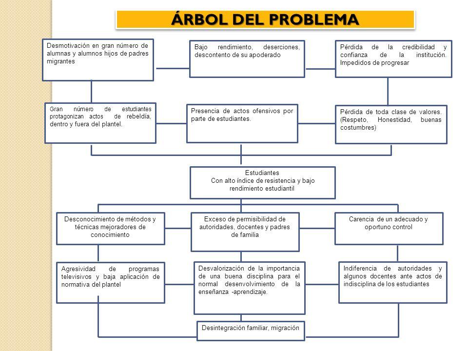 ÁRBOL DEL PROBLEMA Desmotivación en gran número de alumnas y alumnos hijos de padres migrantes Bajo rendimiento, deserciones, descontento de su apoder