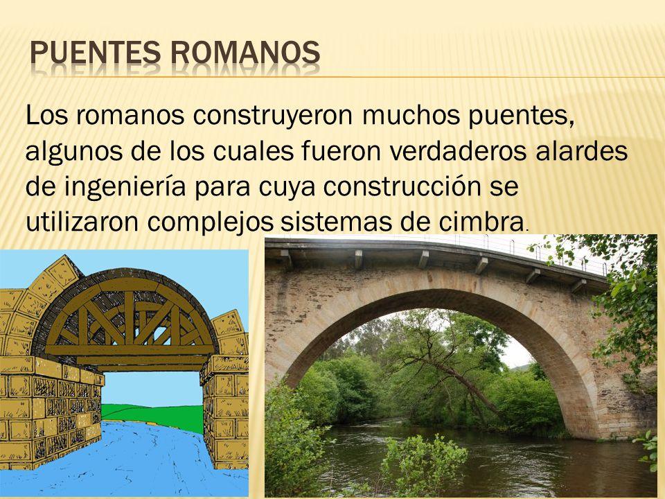 Los romanos construyeron muchos puentes, algunos de los cuales fueron verdaderos alardes de ingeniería para cuya construcción se utilizaron complejos