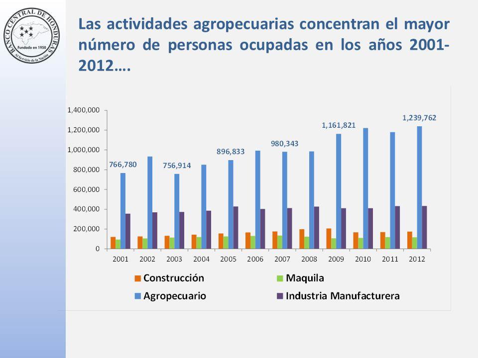 Las actividades agropecuarias concentran el mayor número de personas ocupadas en los años 2001- 2012….