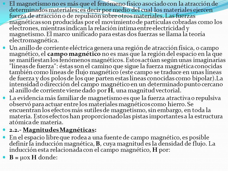 El magnetismo no es más que el fenómeno físico asociado con la atracción de determinados materiales; es decir por medio del cual los materiales ejerce