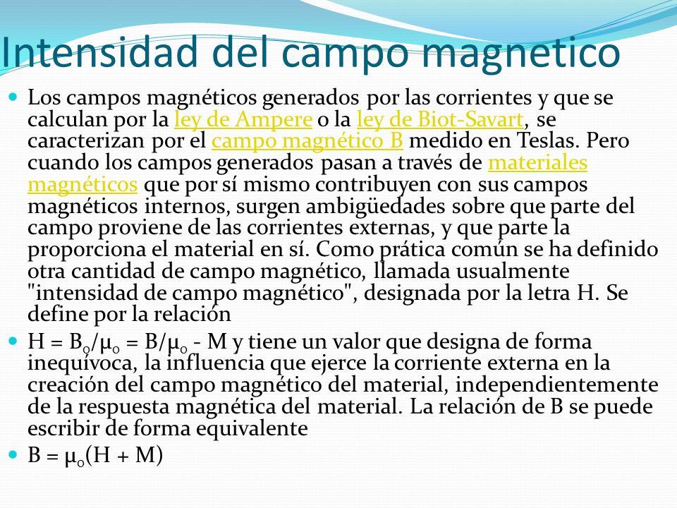 Intensidad del campo magnetico Los campos magnéticos generados por las corrientes y que se calculan por la ley de Ampere o la ley de Biot-Savart, se c