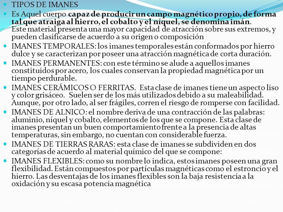 TIPOS DE IMANES Es Aquel cuerpo capaz de producir un campo magnético propio, de forma tal que atraiga al hierro, el cobalto y el níquel, se denomina i