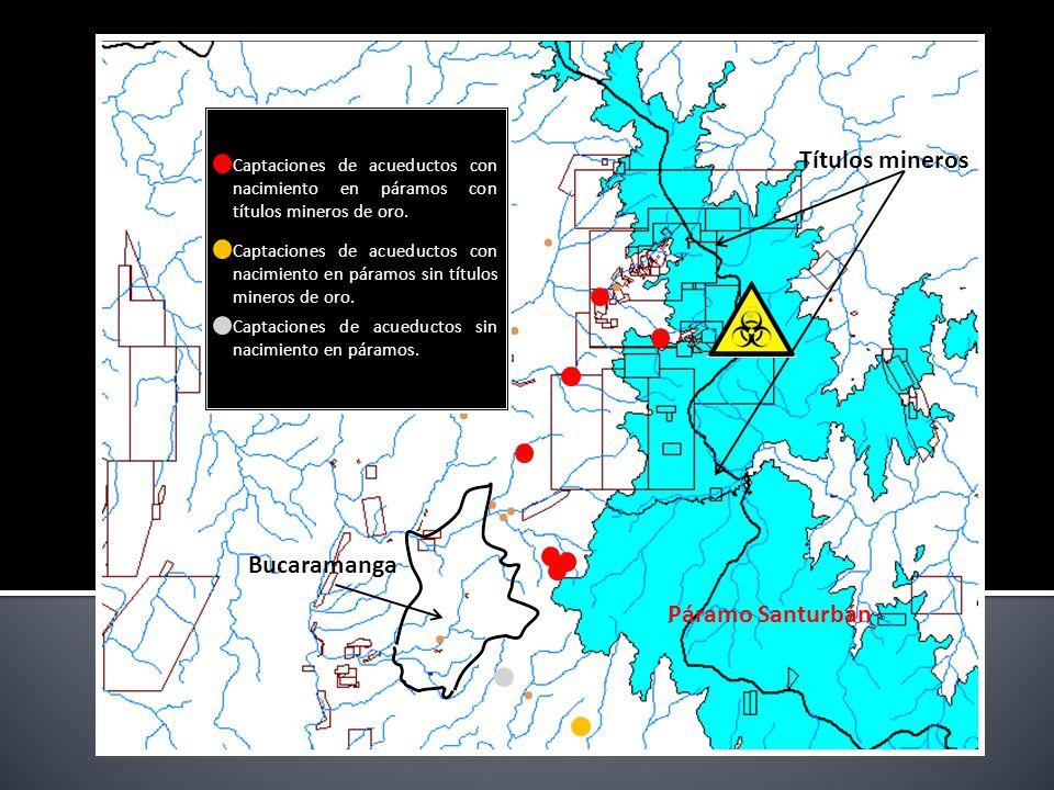 Bucaramanga Páramo Santurbán Captaciones de acueductos con nacimiento en páramos con títulos mineros de oro.