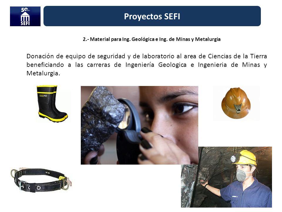 2.- Material para Ing. Geológica e Ing. de Minas y Metalurgia Proyectos SEFI Donación de equipo de seguridad y de laboratorio al area de Ciencias de l