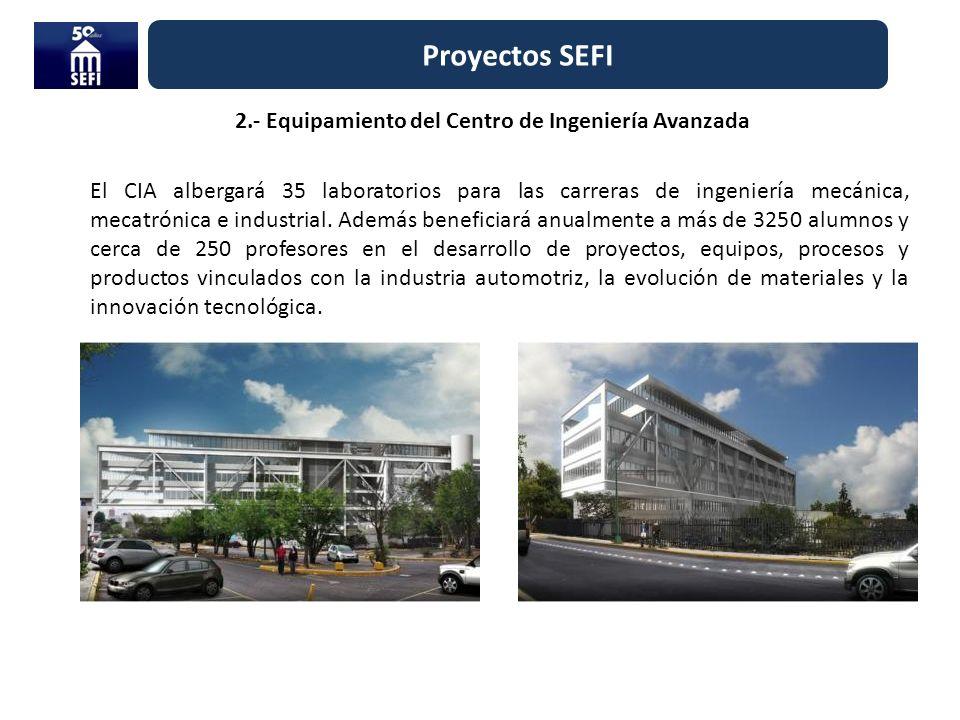 Proyectos SEFI 2.- Equipamiento del Centro de Ingeniería Avanzada El CIA albergará 35 laboratorios para las carreras de ingeniería mecánica, mecatróni