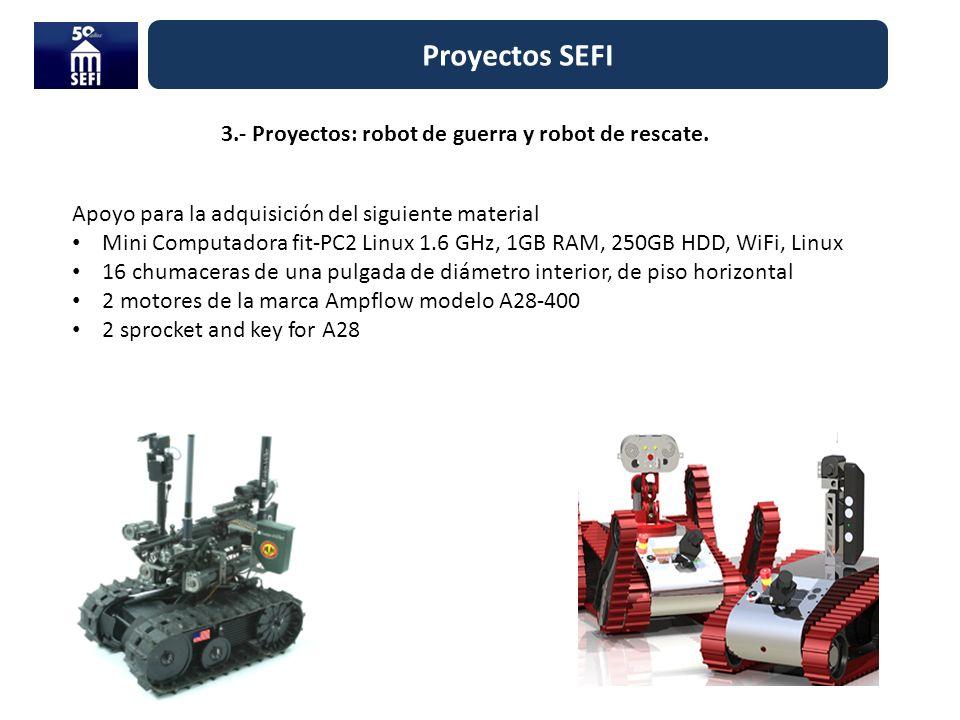 3.- Proyectos: robot de guerra y robot de rescate. Proyectos SEFI Apoyo para la adquisición del siguiente material Mini Computadora fit-PC2 Linux 1.6