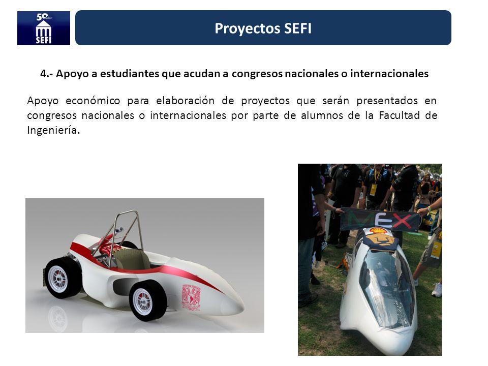4.- Apoyo a estudiantes que acudan a congresos nacionales o internacionales Proyectos SEFI Apoyo económico para elaboración de proyectos que serán pre