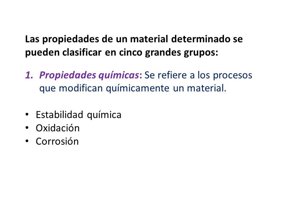Las propiedades de un material determinado se pueden clasificar en cinco grandes grupos: 1.Propiedades químicas: Se refiere a los procesos que modific